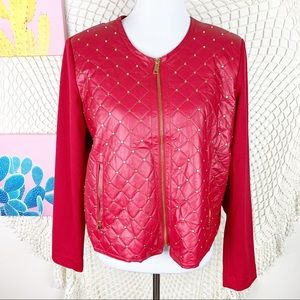Ellen Tracy Quilted Studded Mixed Media jacket L